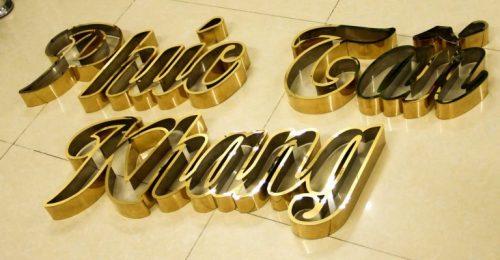 Chữ nổi inox mạ vàng